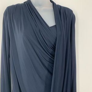 DOO-RI NEW YORK LONG SLEEVE FRONT DRAPE NAVY DRESS
